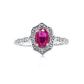 Scalloped Halo Ruby & Diamond Ring