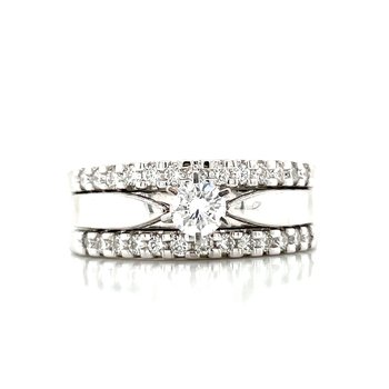 Three Ring Diamond Wedding Set