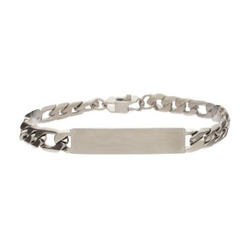 Steel Engravable Double ID Plate with Curb Chain Bracelet