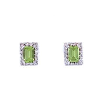 Elegant Emerald Cut Peridot Earrings