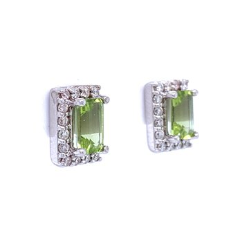 Elegant Emerald Cut Peridot Earrings