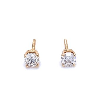1/2ctw Diamond Studs with Screw Backs-14ky