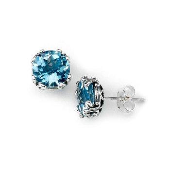Blue Topaz Earrings in Silver