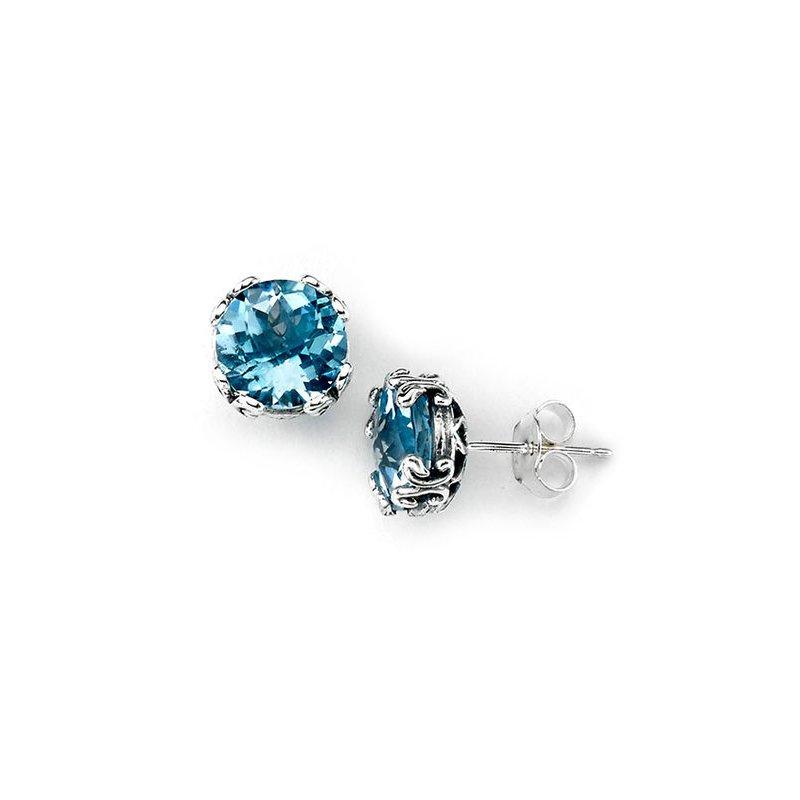 Bryan Beauties Blue Topaz Earrings in Silver