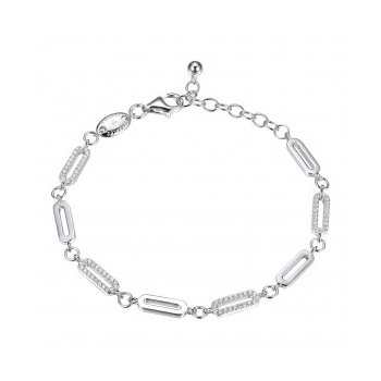 Alternating CZ and High Polished Paperclip Link Bracelet