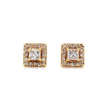 Princess Cut Studs with Halo