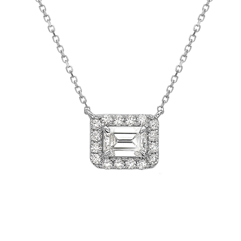 Emerald Cut Halo Diamond Necklace -East to West