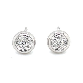 Bezel Style Diamond Studs in white gold