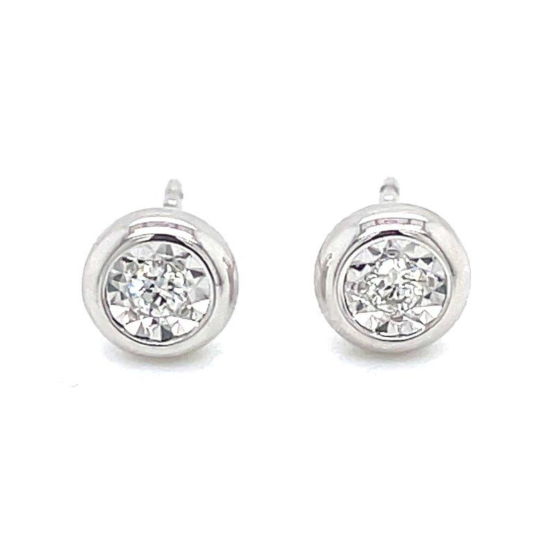 Bryan Beauties Bezel Style Diamond Studs in white gold