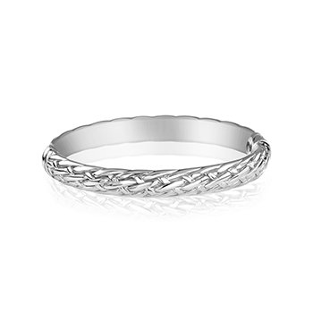 Sterling Silver Bangle with Basket Weave Design