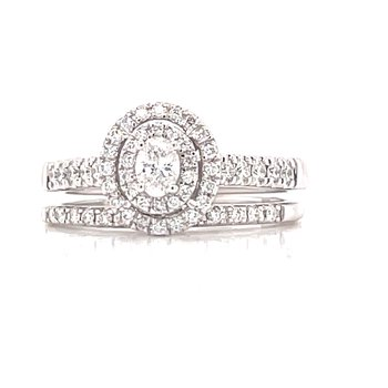 Double Halo Bliss Bridal set with Oval center