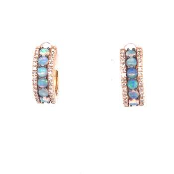 0.15ctw Diamond & 0.28ctw Opal Huggie Earrings-14ky
