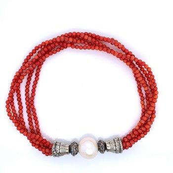 Multi-strand Coral & Pearl Bracelet