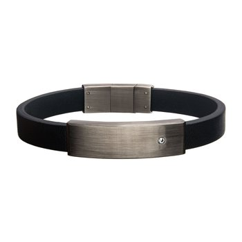 Black Leather with 2mm Clear CZ in Engrave Steel ID Bracelet