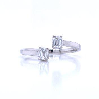Bypass Emerald Cut Ring 1/3ctw