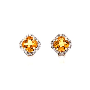 Cushion Cut Citrine with Halo Studs