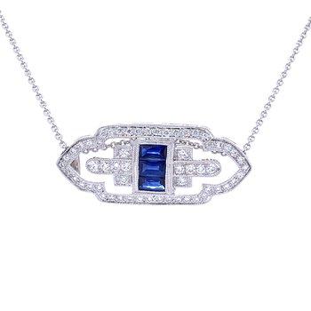 Art Deco Style Sapphire Pendant