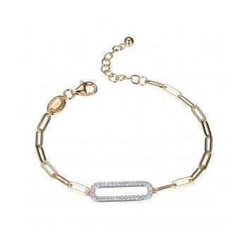 Paperclip Bracelet with Sparkle Center