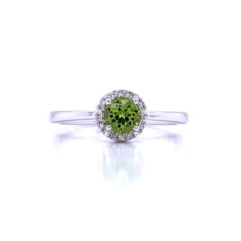 Peridot and Diamond Halo Rings