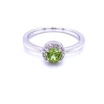 Peridot and Diamond Halo Rings