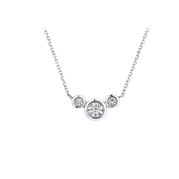 Triple Bezel Diamond Necklace