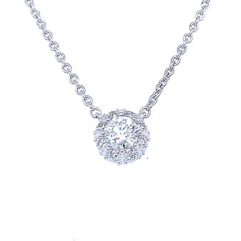 Simply Stunning Halo Necklace in 14kw