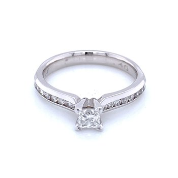 Princess cut Engagement Ring with Channel Set Diamond Band