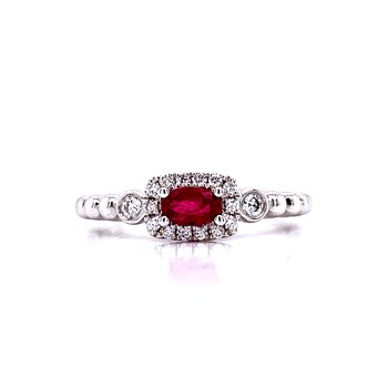 Sideways Oval Ruby Stackable with Halo