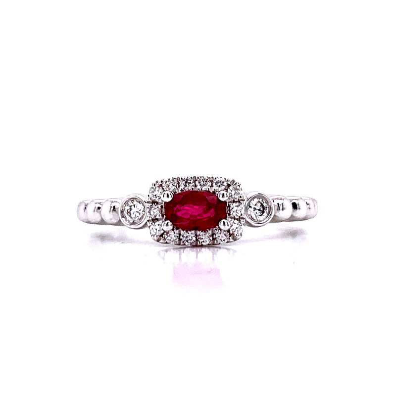 Bryan Beauties Sideways Oval RubyStackable with Halo