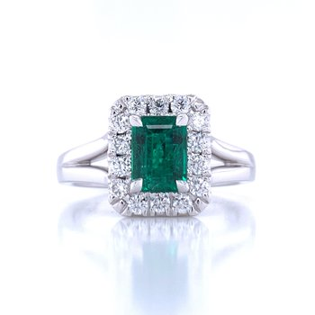 Elegant Emerald and Diamond Ring - 14kw