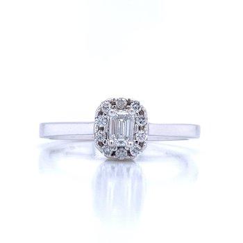 Emerald Cut Halo Diamond Ring 1/3ctw
