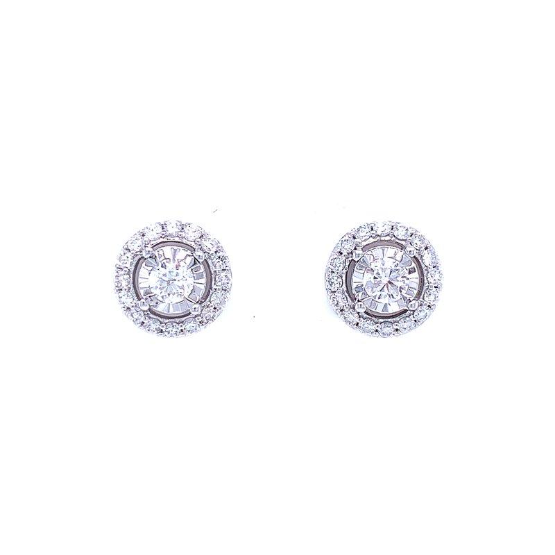 Bryan Beauties Tru-reflections Halos Diamond Studs 3/4ctw