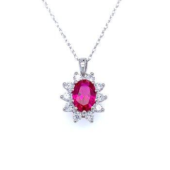 Simulated Ruby & Diamond Pendant