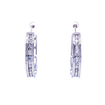 Diamond Hoop Earrings-22 mm