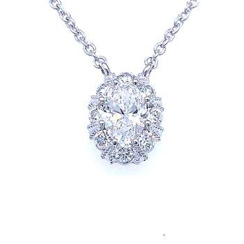 Oval Diamond Halo Necklace
