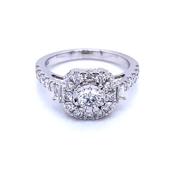Cushion Shaped Diamond Halo Ring
