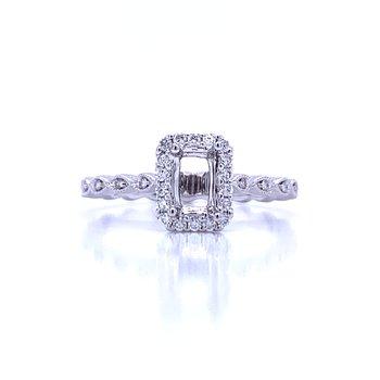 6x4 Emerald Cut Semi-mount Ring