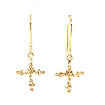 Scroll Cross Earrings-14ky