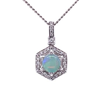 Opal with Diamond Pendant