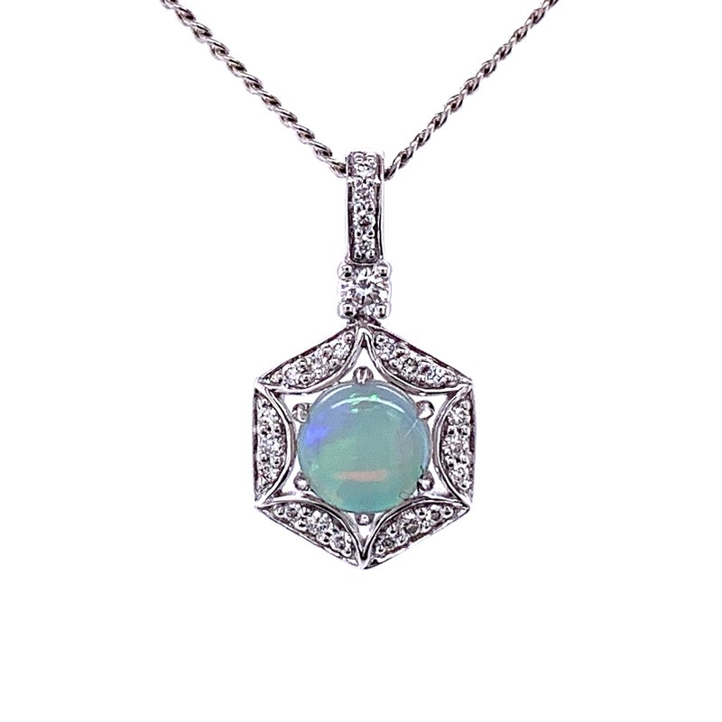 Bryan Beauties Opal with Diamond Pendant