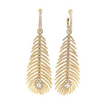 18k Gold Peacock Feather & Diamond Earrings