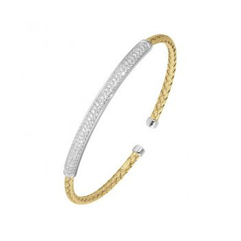 Yellow Vermeil Cuff With Diamondlite CZ Bar