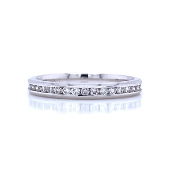 Channel Set Diamond Wedding Band-1/4ctw-14kw