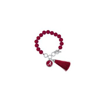 """Beaded Toggle Bracelet with """"A"""" charm and Tassel"""