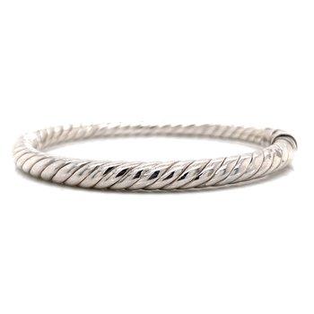 Rib Textured Hinged Sterling Silver Bangle