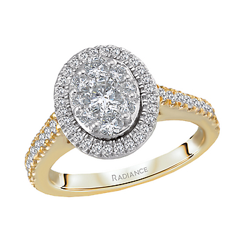 14K TWO TONE RADIANCE COLLECTION OVAL HALO DIAMOND ENGAGEMENT  RING DIAMOND WEIGHT 7/8CTW