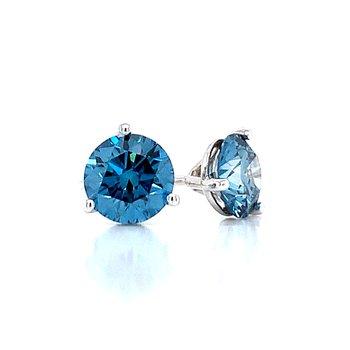 Evolv-Blue Diamond Earrings 1 1/2ctw