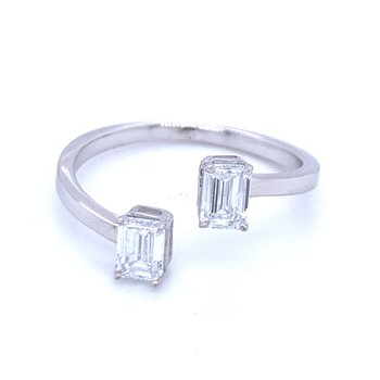 Bypass Emerald Cut Ring 3/4ctw
