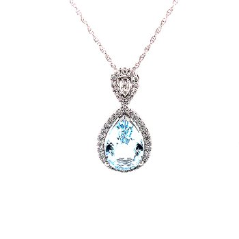 Distinctly Pleasing Pear Shaped Pendant with Aquamarine