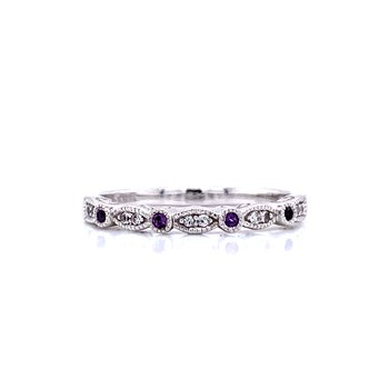 Amethyst & White Topaz Stackable